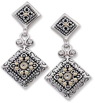 Samuel B. Sterling Silver & 18K Gold White Topaz Swirl Diamond-Shaped Drop Earrings