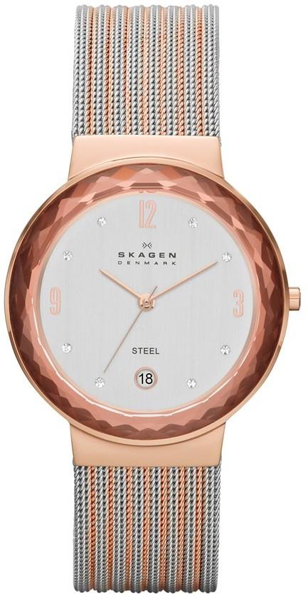 Skagen Faceted Bezel Stripe Mesh Strap Watch, 34mm