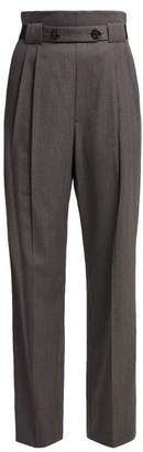 Helmut Lang High Rise Wool Twill Trousers - Womens - Grey
