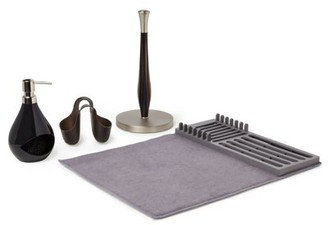 Mainstays 4 Piece Kitchen Accessories Set with Dish Mat, Paper Towel Holder, Soap Pump and Sink Caddy