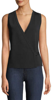 Theory Sleeveless Lustrate Crepe Wrap Top