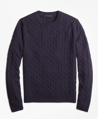 Brooks Brothers Cable-Knit Crewneck Cashmere Sweater