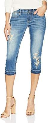 Grace in LA Women's Boho Embroidered Capri Jeans