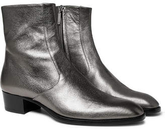 Saint Laurent Wyatt Metallic Full-Grain Leather Boots