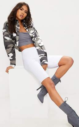 PrettyLittleThing Grey Cropped Camo Trucker Jacket