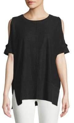 Donna Karan Cold-Shoulder Linen Sweater