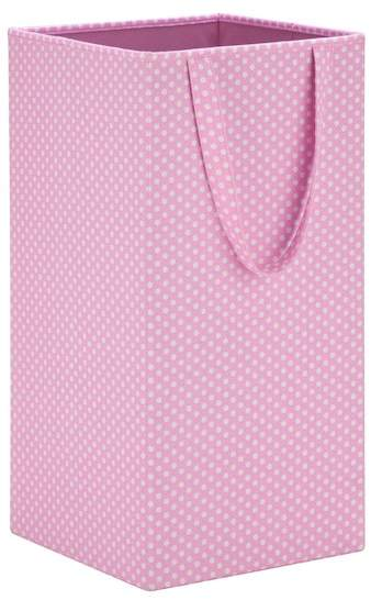 Pink Polka Dot Rectangular Collapsible Hamper with Handles