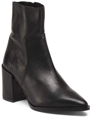 Made In Italy Leather Raw Edge High Heel Booties