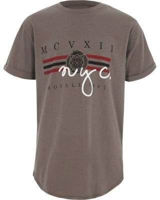 River Island Boys khaki 'NYC' print short sleeve T-shirt