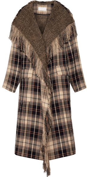 Chloé  Chloé - Fringed Plaid Wool And Cotton-blend Coat - Beige