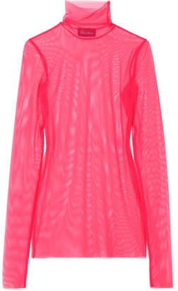 we11done - Stretch-mesh Turtleneck Top - Pink