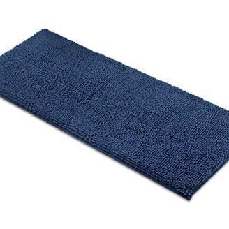 MAYSHINE Non-Slip Bathroom Rugs Shag Shower Mat Machine-Washable Bath mats Runner with Water Absorbent Soft Microfibers - 27.5x47 inch Dark Blue