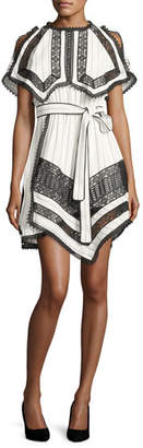 Self-Portrait Monochrome Striped Handkerchief Dress with Lace