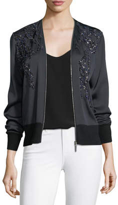 Elie Tahari Preeya Embellished Bomber Jacket