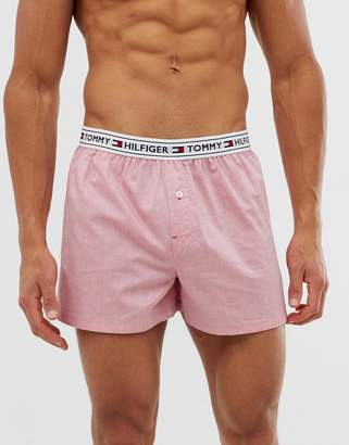 woven boxer shorts with contrast flag logo waistband in pink
