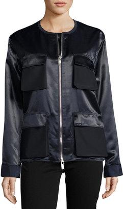 Pink Tartan Double-Zip Satin Utility Jacket, Navy $349 thestylecure.com