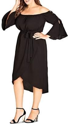 City Chic Plus Off-the-Shoulder Midi Dress