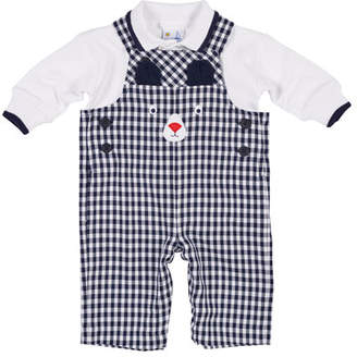 Florence Eiseman Twill Gingham Bear Overalls w/ Long-Sleeve Polo Top, Size 3-18 Months