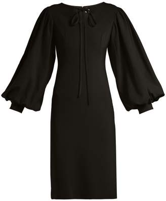Osman Puff-sleeve crepe dress