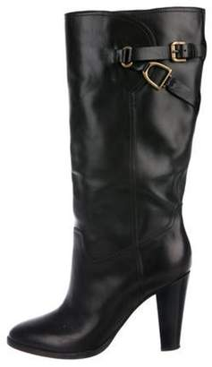 Ralph Lauren Leather Mid-Calf Boots Black Leather Mid-Calf Boots