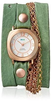 La Mer Women's LM7607 Rose-Tone/Melon Leather Watch