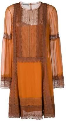Alberta Ferretti lace trim shift dress