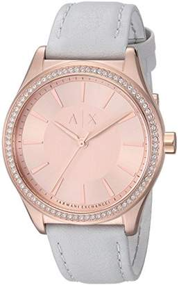 Armani Exchange Women's AX5444 Rose Gold Leather Watch
