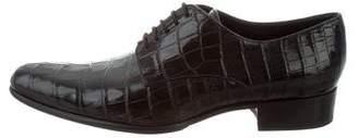 Dolce & Gabbana Crocodile Pointed-Toe Oxfords