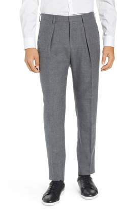 BOSS Ole Pleated Solid Wool & Cotton Trousers