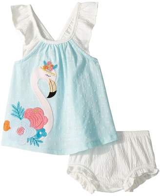 Mud Pie Flamingo Dress and Bloomer Two-Piece Set Girl's Suits Sets