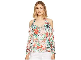 XOXO Printed Off the Shoulder Ruffle Top Women's Clothing