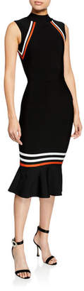 Elliatt Serene Mock-Neck Sleeveless Flared-Hem Body-Con Dress w/ Stripes