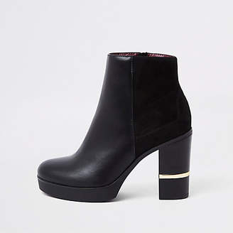 River Island Black faux leather block heel ankle boots
