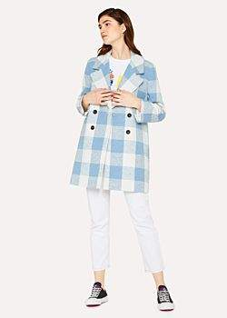 Paul Smith Women's Blue And White Check Cotton-Blend Cocoon Coat