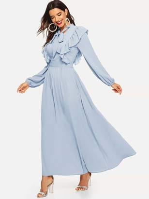 Shein Tie Neck Ruffle Trim Flowy Maxi Dress