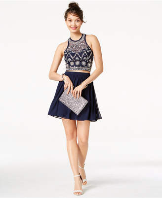 B. Darlin Juniors' Embellished Strappy-Back 2-Pc. Dress, Created for Macy's