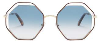 Chloé Poppy Octagonal Framed Sunglasses - Womens - Blue
