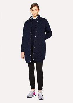 Paul Smith Women's Navy Wool And Cotton-Blend Quilted Coat