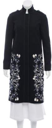 Tory Burch Wool Embroidery-Trimmed Long Coat