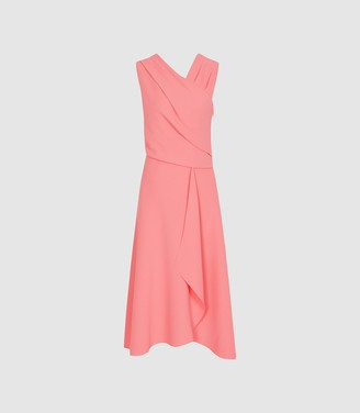Reiss Marling - Wrap Front Midi Dress in Pink