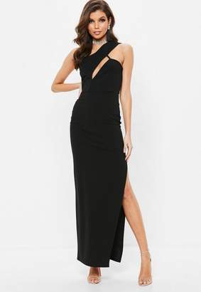 Missguided Black One Shoulder Cut Out Maxi Dress