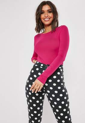 Missguided Hot Pink Long Sleeve Crew Neck Bodysuit