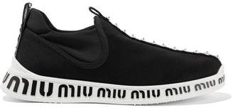 Miu Miu Logo-embossed Embellished Stretch-knit And Neoprene Sneakers - Black