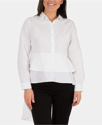 NY Collection High-Low Layered Peplum Blouse