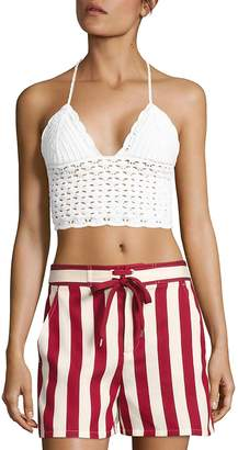 Valentino Women's Cotton Crochet Halter Top