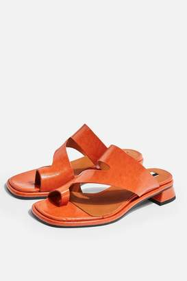 4a74b6d94f59 Topshop Womens Noah Vegan Orange Low Toe Loop Sandals - Orange