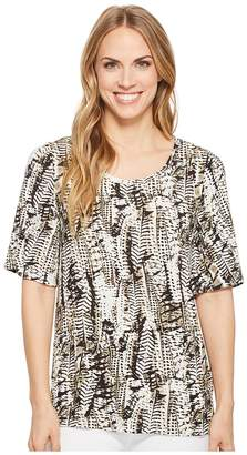 Tribal Printed Slub Flutter Sleeve Scoop Neck Top Women's Clothing
