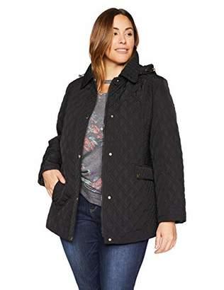 Jones New York Women's Plus Size Quilted Jacket with Hood