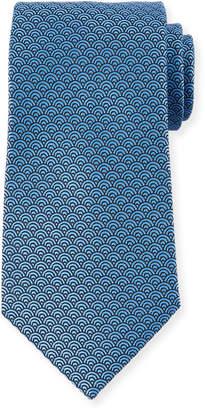 Ermenegildo Zegna Men's Silk Woven Tiles Tie, Blue