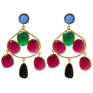 Carousel Jewels - Chalcedony Aventurine & Black Onyx Gold Statement Earrings